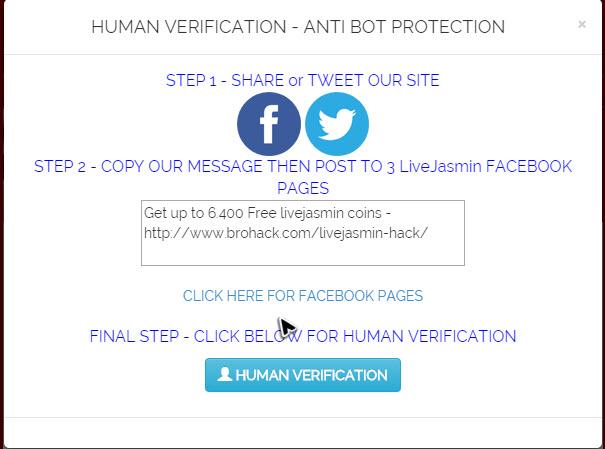 LiveJasmin hack human verification scam